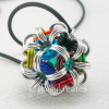 Japanese Dodecahedron Temari Pendant with Glass Marble Center