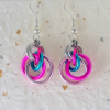 Petite Tea Rose Earrings in Blue and Pink Mix