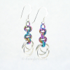 Sterling Silver and Anodized Niobium Rainbow Tea Rose Earrings