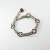 Red Green Poinsettia Flower Chainmaille Bracelet