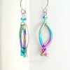 ainbow Fish Earrings in Multi Color Anodized Niobium