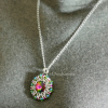 Red Green Helios Sunburst pendant with Swarovski crystals