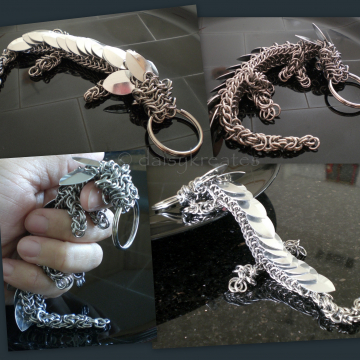 Chainmaille Pet Dragon Key Fob in all Stainless Steel Rings