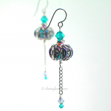 Genie Bottle earrings in anodized niobium, stainless steel, Swarovski crystals