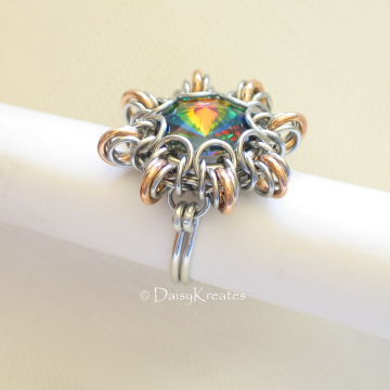 Byzantine Sun Finger Ring Featuring Swarovski Rivoli Stone in Mixed Metals