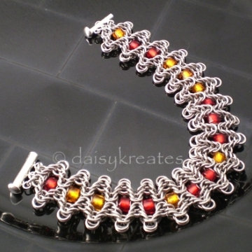 Staggered Byzantine Chainmaille Braclet, Bollywood by way of Byzantine