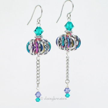 Sparkly and colorful Genie Bottle earrings with anodized niobium