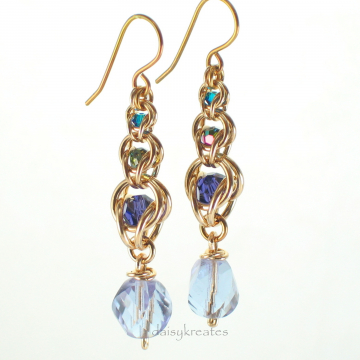 Multicolor Golden Harvest Earrings in Graduated 3-Tier Style