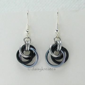 Petite Tea Rose Earrings in Black Ice Mix