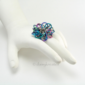 "Flower of Forget-Me-Not Ring measures ~ 1 1/4"" across"