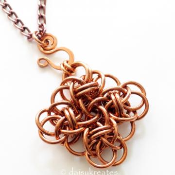 Copper Chainmaille Persephone Square Pendant