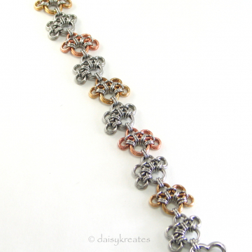 Annie's Petite Paw Prints Bracelet in Mixed Metals with Heart Clasp