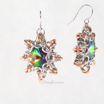Byzantine Sun Earrings with Captured Swarovski Rivoli Stone