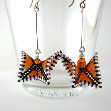 Beaded Monarch Butterfly earrings in orange and black Delica beads