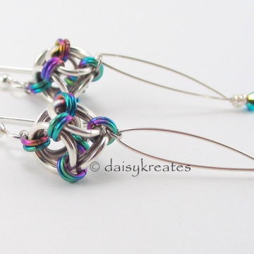 Japanese Polyhedron Nox Earrings in shiny sterling silver and colorful anodized