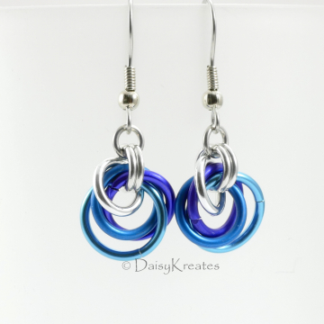 Petite Tea Rose Earrings in Blue Mix