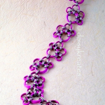 Purple Paw Prints Chainmaille Bracelet