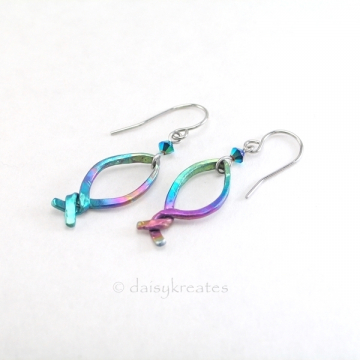 Rainbow Fish Earrings in Multi Color Anodized Niobium