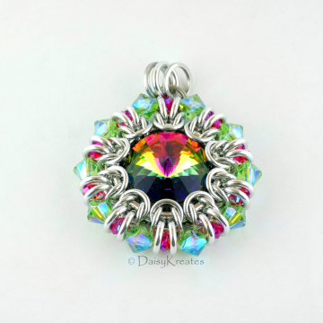 Red Green Helios Sunburst pendant with Swarovski crystals