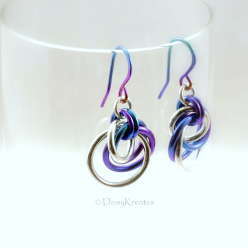 Sterling Silver and Teal Purple Niobium Tea Rose Earrings