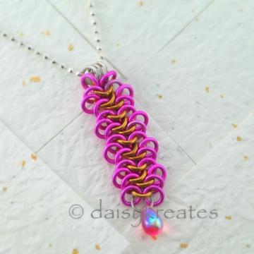 "Fuchsia Ruffly Ribbon Strangemaille Pendant on 18""+1"" Adjustable Ball Chain"