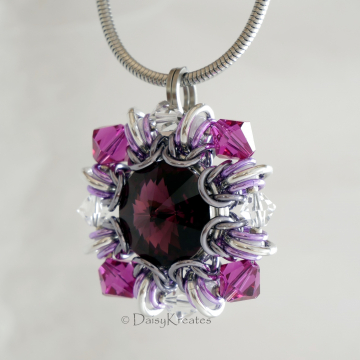 Purple Winter Carnival Square Pendant with optional stainless steel snake chain