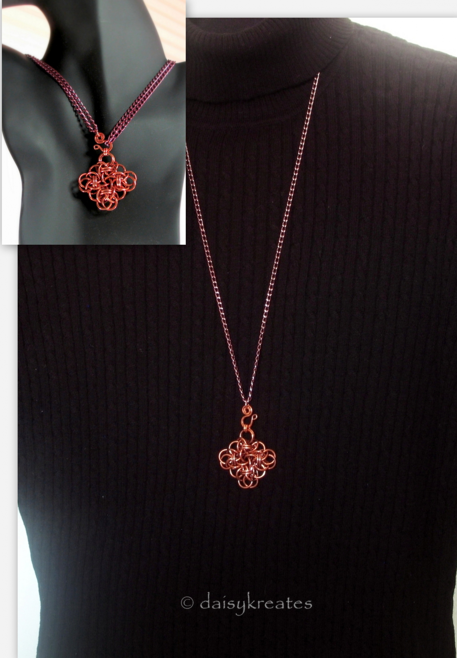 Copper Chainmail Persephone Square Knot Pendant Adjustable