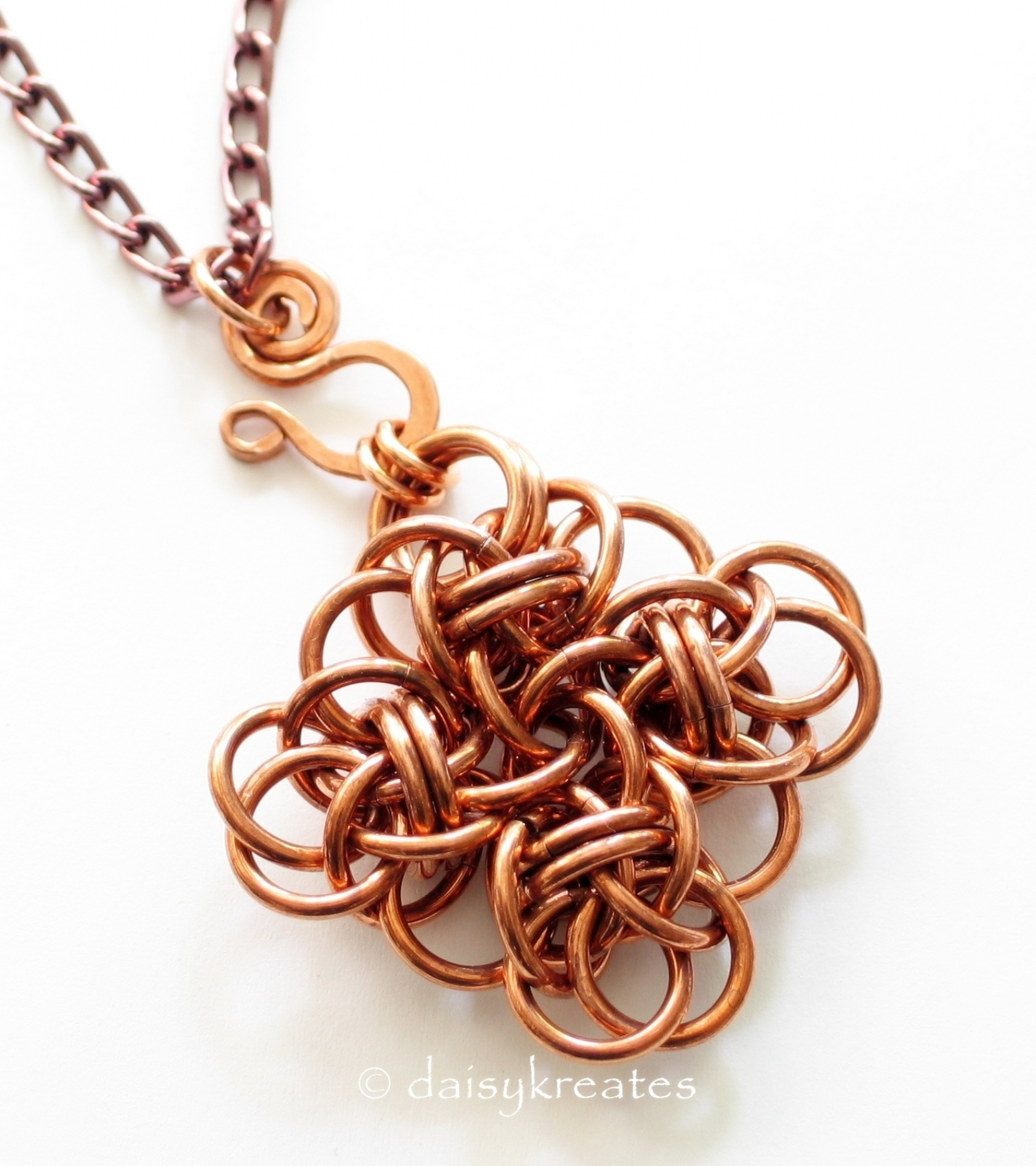 Copper chainmail persephone square knot pendant adjustable copper chainmaille persephone square pendant mozeypictures Image collections