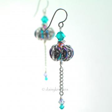 Genie Bottle Earrings in Anodized Niobium with Swarovski Cyrstals