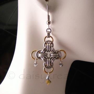 Chainmaille Cross Earrings