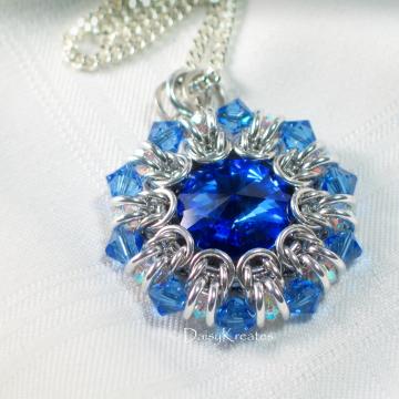 Helios Sunburst MedallionPendant with Jewel Color Swarovski Crystals in Chainmaille Bezel