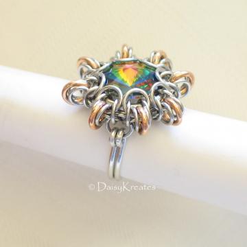 Byzantine Sun Finger Ring Featuring Swarovski Rivoli Stone in Stainless Steel and Bronze