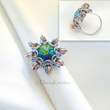 Byzantine Sun Finger Ring Featuring Swarovski Rivoli Stone in Stainless Steel and Bronze