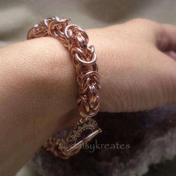 Chunky Copper Byzantine Chainmaille Bracelet