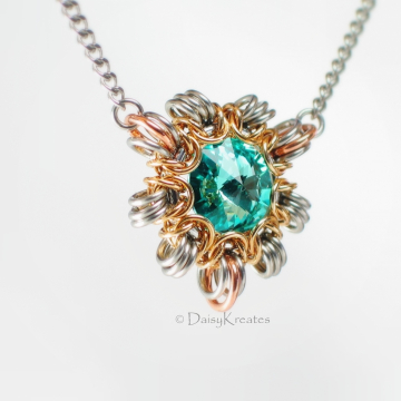 Petite Byzantine Sun 17-inch Necklace with Swarvoski Rivoli Captured Focal on Stainless Steel Curb Chain