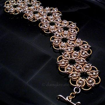 Hexagonal Celtic Rose Chainmaille Bracelet