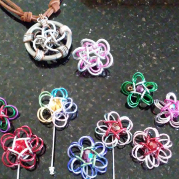 Celtic Rosettes as pins, pendant, and a finger ring