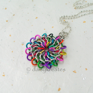 "Multicolor Tibetan Mandala Chainmaille Pendant with 18"" Ball Chain Necklace"