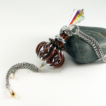 Chocolate Brown Genie Bottle Necklace with Chainmaille Whirlybird Pendant