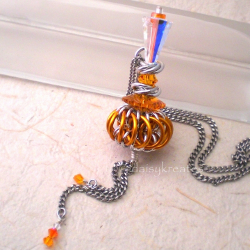 Genie Bottle Necklace with Tangerine Orange Chainmaille Whirlybird Pendant