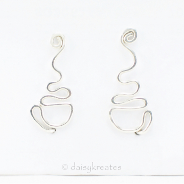 Sterling Silver Coffee Cup Ear Climbers