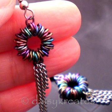 Multi Color Anodized Niobium Coiled Rainbow Earrings