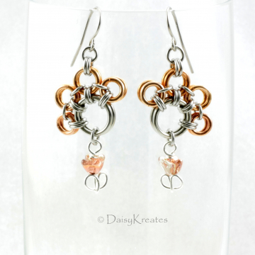 Dorothy's PawPrints Earrings in Bronze and Stainless Steel with Tulip Beads