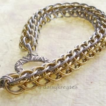 Mix Metal Layered Half Persian Chainmaille Bracelet