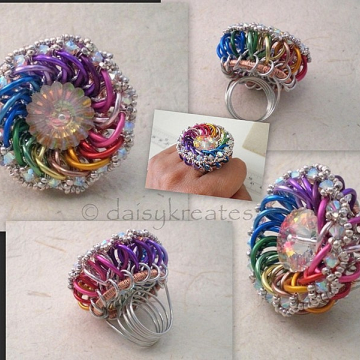 Dancing Rainbow Cocktail Finger Ring