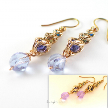 Multicolor Golden Harvest Earrings with Captive Crystals and Color Shift Beads