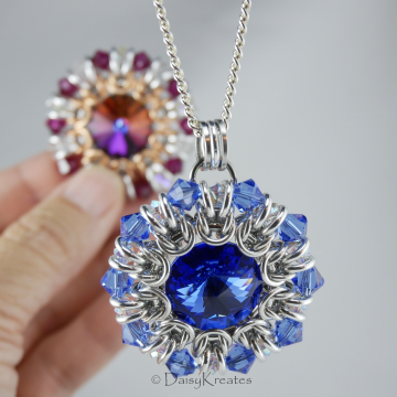 Helios Sunburst Medallion Pendant with Jewel Color Swarovski Crystals in Chainmaille Bezel