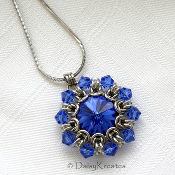 Helios Sunburst pendant in sapphire blue