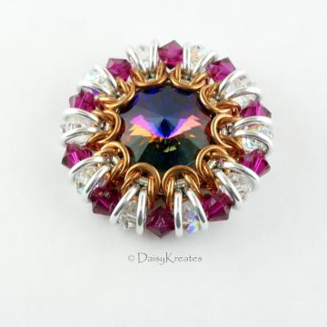Ruby Red Helios Sunburst Medallion Brooch with Swarovski Crystals