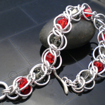 Half Persian Chainmaille Crystal Flannel Bracelet in Red and Grey